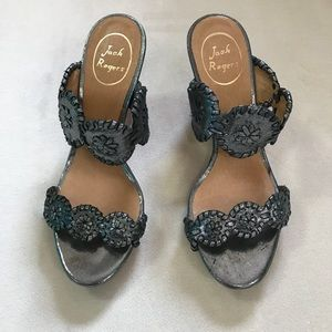 Jack Rogers Silver Luccia Wedges